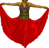 Red Satin Full Circle Skirt Belly Dance Gypsy Flamenco Costume Jupe Maxi Boho NW