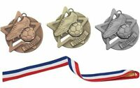 Star Moulded 60mm Football Medals with Ribbons *NEW*