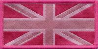 Union Jack UK Flag Badge Patch Pink Tones 9.8 x 4.9cm
