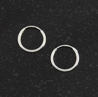 Sterling Silver 14mm Endless Hoop Earrings Round 925 Italy Italian Jewelry