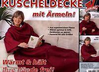 Wohndecke Kuscheldecke mit Ärmeln Fleece Decke 140 x 180cm 100% Polyester rot
