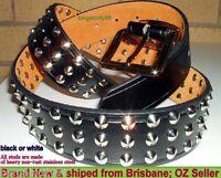 New Mens Studded Blk/Wht Leather Belt Sz34 36 38 40 42 44 46XS S M L XL XXL XXXL