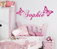 Personalised Butterfly wall art sticker name, style B - any name, 3 sizes