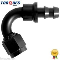 AN -6 (6AN JIC AN6) 120 Degree Push-On Socketless Fuel Hose Fitting Black