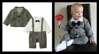 Baby Grey Boy Wedding Christening Formal Party Bow Tie Smart Suit Outfit 6-24m