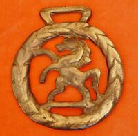 VINTAGE RAMPANT HORSE BRASS REARING HORSE HARNESS STRAP DECORATION