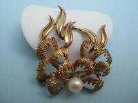 Antike Brosche mit Perle Amerikaner A*D Double Goldbrosche Goldschmuck