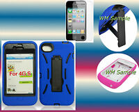 Screen Protector+Blue/Black Hybrid Kickstand iPhone 4 4G 4S Cover Hard Case
