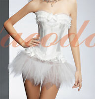 Sexy White Boned Lace Up Burlesque Corset and Tutu Skirt