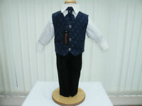 Boys Navy Blue Black 4 Piece Suit Wedding PageBoy Party Formal Occasion 6-9 mts