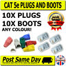 10 Cat 5e RJ45 Plugs & Boots for Network / Patch Cables, Crimp Connectors LAN
