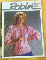 """Robin-Vintage-Ladies-Thermospun-Sweater-Knitting Patterns-13414-Fits 32-42"""""""