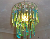 RETRO VINTAGE STYLE CHANDELIER CEILING LIGHT SHADE AQUA TEAL DUCK EGG DROPS BN
