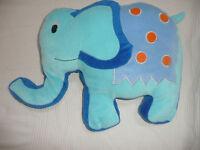 doudou peluche coussin elephant bleu TBE