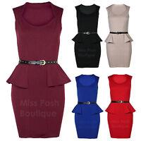 Womens Ladies Sleeveless Gold Stud Belted Frill Shift Peplum Bodycon Skirt Dress