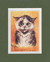 MOUNTED  LOUIS  WAIN  CAT  PRINT  -  ATTITUDE  -  THROW  PHYSIC  TO  THE  DOGS