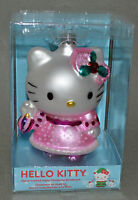 """NEW IN BOX! Hello Kitty Hand Blown Glass Ornament 5"""" Pink Dress Christmas Tree"""