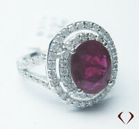 3.68 CTW RUBY & DIAMOND RING  F VS 18K