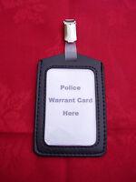 Black ID Pass/Warrant Card/Badge Holder+Plastic/Metal Belt Clip -POLICE/CO19 (P)
