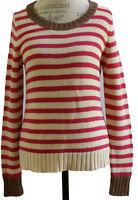 NWT Banana Republic Metallic Trim Brilliant Berry Stripe Pullover Sweater XS $79