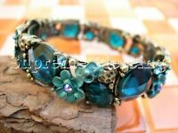 Aqua Blue Glinted Crystal Flower Bangle Cuff Bracelet 027