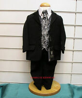 Boys Silver Paisley Waistcoat Black 5 Piece Suit Wedding Pageboy Party Age 7