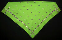 POLISH hand-embroidered kerchief ethnic folk costume green peasant shawl POLAND