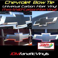 2x 5x10 3D Carbon Fiber Vinyl Bow Tie Emblem Overlays Decal Wrap Universal Chevy