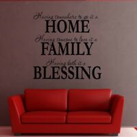HOME FAMILY BLESSING wall quote home transfer sticker art vinyl decal mural