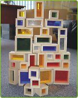 FENSTERBAUSTEINE Holz Bauklötze Bausteine 32er Set in HOLZBOX 30-99