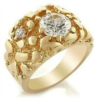 L2W038PB  MANS 3CT 2 STONE  SIMULATED DIAMOND MENS RING ALL SIZES SIGNET PINKY