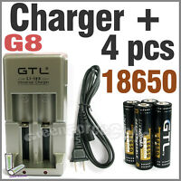 4 18650 3.7V 3300mAh + Rechargeable battery charger G8