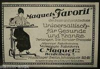 Tisch auf Räder Favorit,C.Maquet Heidelberg,Berlin,orginal Werbe Anzeige 1926