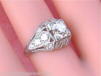 ESTATE  ART DECO 1ct EUROPEAN CUT DIAMOND EGL ID ENGAGEMENT PLATINUM RING 1930