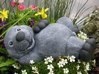 Steinfigur Maulwurf liegend Steinguss Schiefergrau Gartendeko Gartenfigur Statue