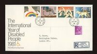 1981 Disabled ROYAL COURT Post Office with BUCKINGHAM PALACE CDS FDC