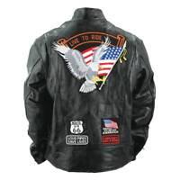 Men's Genuine Buffalo Leather Motorcycle Biker Jacket