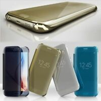 Luxury Mirror Clear View Flip Leather Case Cover for Samsung Galaxy S6 / S6 Edge