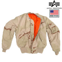 NEW US ALPHA TRI DESERT MA1 MA-1 BIKER SCOOTER FLYER BOMBER FLIGHT COMBAT JACKET