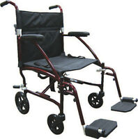 Drive Medical Fly-Lite DFL19-RD Aluminum 16.8 lbs Transport Chair  - RED
