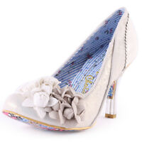 Irregular Choice Mrs Lower 4009-02A Womens Leather & Fabric Off White Heels