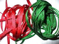 25mm Red or Dark Green metallic ribbon x 5 metres. Christmas gift wrapping ribbo