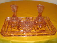 ART DECO PINK GLASS MISMATCH DRESSING TABLE SET, some chips (1.9/16)