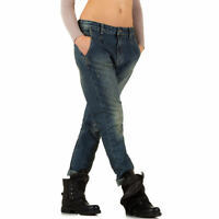 TOP Jeans Hose Damen Jeanshose Used Look Hüftjeans Boyfriend Blau