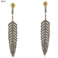 3.47 ct Diamond Feather Style Dangle Earrings 14 kt Gold Sterling Silver Jewelry