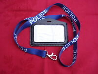 POLICE,SO19,CO19,N/Blue/White Neck Lanyard+Security ID Pass Card/Badge Holder L