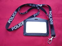 POLICE,SO19,CO19 - Black/White Neck Lanyard+Warrant Card/ID Pass/Badge Holder L