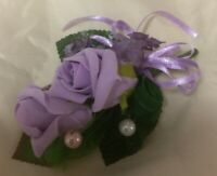 WEDDING FLOWERS -IVORY MINI ORCHID WRIST CORSAGE WITH PEARLS-