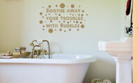 Troubles Bath Quote Wall Sticker Decal Art Transfer Graphic Stencil Vinyl QU23