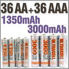 36 AA+36 AAA 1350mAh 3000mAh 1.2V NI-MH rechargeable battery 2A 3A Ultracell